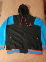 Jordan Varsity Jacket Hoodie Men's Sweatshirt Snap Blue Black Button 3XL