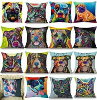 Pillow & Colorful Cotton Linen Cat Cover Dogs Throw Case Waist Cushion Gift Sofa