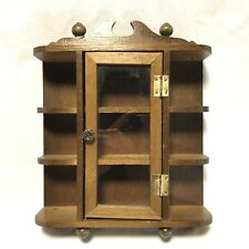 Vtg Curio Cabinet Glass Door Wood Knick Knack Shelf