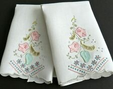 Madeira Embroidery Linen Hand Guest Towels Quality Pastel Floral, Orig. Tags VTG