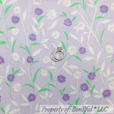 BonEful Fabric FQ Cotton Quilt Purple White Green Leaf Flower Small Calico Daisy