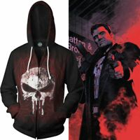The Punisher Hooded Sweatshirt Military Skull Sweater Shirt Hoodie Zip Up Coat
