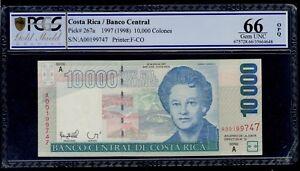 COSTA RICA 10000 COLONES 1997 PICK # 267a PCGS 66 GEM UNC OPQ.