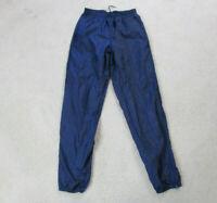 VINTAGE Nike Pants Adult Small Navy Blue Swoosh Warm Up Windbreaker Mens 90s A19