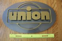 Metal UNION gas Sign Oval logo Store front building silver gold tone Advertising