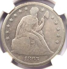 1865 Seated Liberty Silver Dollar $1 - NGC VG Details - Rare Civil War Date!