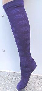 K.Bell Eggplant Deep Purple Flower Print Knee High Socks Rayon Blend Ladies New