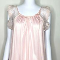 Vintage Deena Lingerie Small Nightgown Pink Lace Nylon Long Sissy Glamour