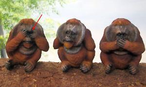 3 Affen Figur 7cm nichts sehen, nichts hören, nichts sagen sprechen Orang Utan
