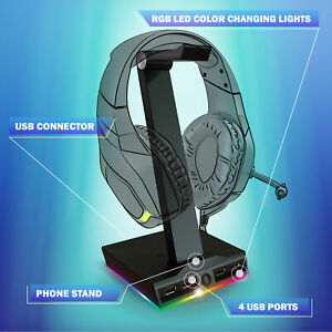 TikTok RGB Bugha LED Gaming Headset Stand w/ 4 USB Ports & Phone Charging Stand