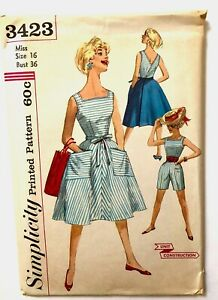 Vintage 1950s SIMPLICITY Sewing Pattern PLAYSUIT WRAP AROUND SKIRT size 16 UNCUT