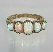 9ct Gold Antique Style Opal & Garnet Ring Heavy Vintage Quality size O