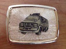Vtg 70s Retro Style Band Econoline Van Front Flames Brass Goldtone Belt Buckle