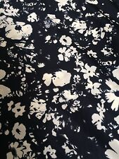 """Floral Printed Soft CREPE Dress Skirt Fabric Crafts Fabric 58"""" Width Black"""