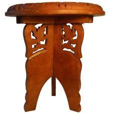 Guéridon démontable 25x23cm Table en bois Marqueterie ensemble 2 pièces