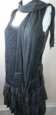 Urban Mango Shift Dress Charcoal Tiered Lace Women's S with Separate Scarf Tie