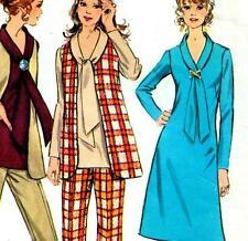 "Vintage 70s DRESS Vest PANTS Top Sewing Pattern Bust 36"" Sz 12 RETRO Tie Collar"
