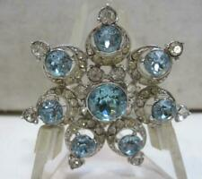 Signed BOGOFF Vintage Beautiful Aqua & Crystal Rhinestones Silvertone Brooch 2""