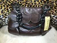 👜NWT Bueno Handbag Brown Faux Leather with Wood Handle 🦋