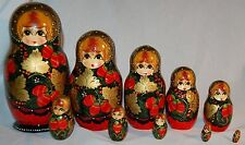 BABUSHKA MATRYOSHKA BERRIES GIRL RUSSIAN NESTING DOLLS 10 PC LARGE HAND PAINTED