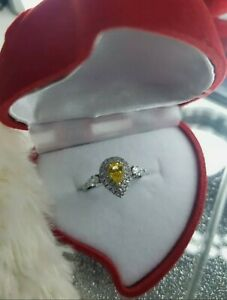 Womans Size L. 3CT Citrine & White Topaz Pear Shape Silver Ring