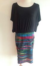 BCBGeneration Combo Dress Black Top & Multi-Color Ruffled Skirt Size M