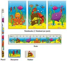 24 Sealife Design Stationery Sets.  Bulk Buy Pocket Money Toys for Party Bags