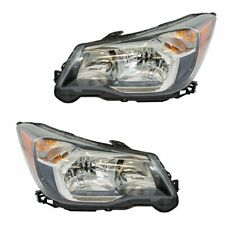 Halogen Headlight Headlamp Black Bezel Lh Rh Pair for 14-16 Subaru Forester 2.0L (Fits: Subaru)