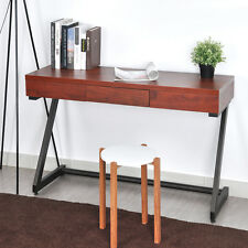 Brick-Red Retro  Wood Console Table Storage Computer Desk Corner Table Z Bottom