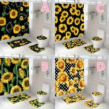 Sunflower Butterfly Shower Curtain Set Rugs Waterproof Bathroom Toilet Cover Dec
