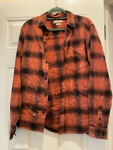Urban Outfitters Standard Cloth Bleached Shadow Plaid Check Shirt Rust Red M New