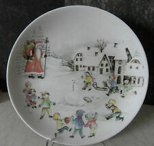 Großer Porzellan Sammelteller /Weihnachtsteller Arzberg Kinder spielen im Schnee