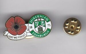 """Hibernian """" Lest We Forget """" - lapel badge butterfly fitting"""