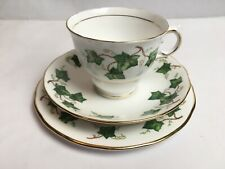 More details for colclough china trio of cup saucer and side plat ivy leaf bone china england