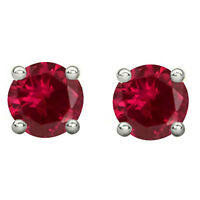 Valentine's 4Ct Red Ruby Stud Earrings Round Solitaire Ear 14K White Gold Silver