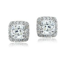 Sterling Silver 2.5ct Square Halo Stud Earrings with Swarovski Zirconia