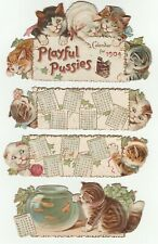 Raphael Tuck 1904 Playful Pussies embossed die-cut color lithograph calendar