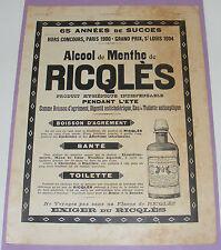 B1127/ RICQLES ALCOOL MENTHE ANCIENNE PUBLICITÉ 1907 AUTHENTIQUE REVUE D'ÉPOQUE