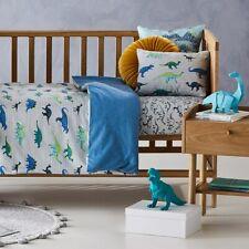 Adairs Kids Dinosaur Stomp Cot Quilt Cover Set - Baby Cotton Flannelette Blue