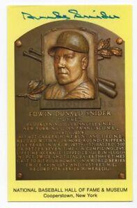 Duke Snider - MLB Hall of Fame - Autographed Hall of Fame Plaque Postcard