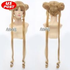 100cm Princess Usagi Tsukino Sailor Moon Flax Golden Cosplay Wig + 2 Ponytails