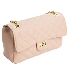 Made in Italy designer Abendtasche Pochette Flap Cross Bag echt Leder Rosa 939RS