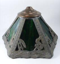 Antique Vtg Green Slag Glass & Squirrels Lamp Shade 6 Pane Craftsman Arts Crafts