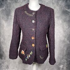 JOE BROWNS Purple Boucle Embroidered Jacket Blazer UK 14 Quirky Hippy Floral