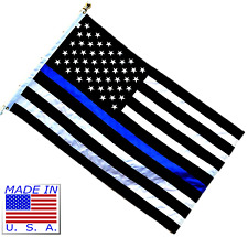 3x5 Police Memorial Blue Line Flag 3'x5' Made in Usa 600D Embroidered Sewn Nylon