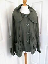 """LABASS Linen Olive Lagenlook Jacket   XXL / Chest 60""""  T"""