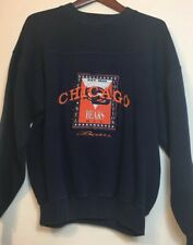 Vtg 90s Chicago Bears Crable Sportswear Size Large Faded Blue Sweatshirt Sweater
