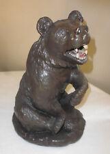 Grand Ours sculpture statue plâtre ancien animal haut: 34 cm