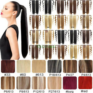 Colorfull Human Hair Ponytail Remy Clip In Hair Extensions Wrap Straight Hair