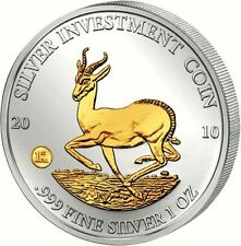 Malawi 2010 Springbock 50 Kwacha Silver Investment Coin 1 Oz Silber - gilded!